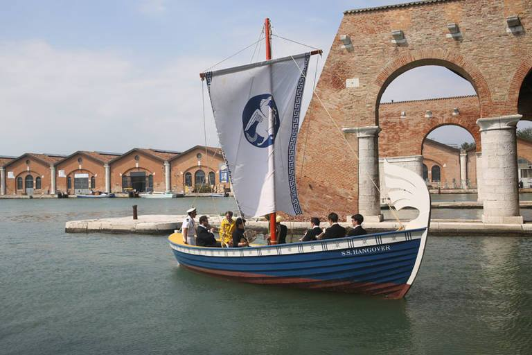 IMAGE: Ragnar Kjartansson, S.S. Hangover, 2013. Performance for a boat and brass sextet. Music by Kjartan Sveinsson. Originally performed in the Arsenale, Venice, during the 55th Venice Biennale, Italy, June 1 to November 24, 2013, daily for six hours. Artwork © Ragnar Kjartansson. Courtesy the artist; Luhring Augustine, New York; and i8 Gallery, Reykjavik. Photograph by Lilja Birgisdóttir.