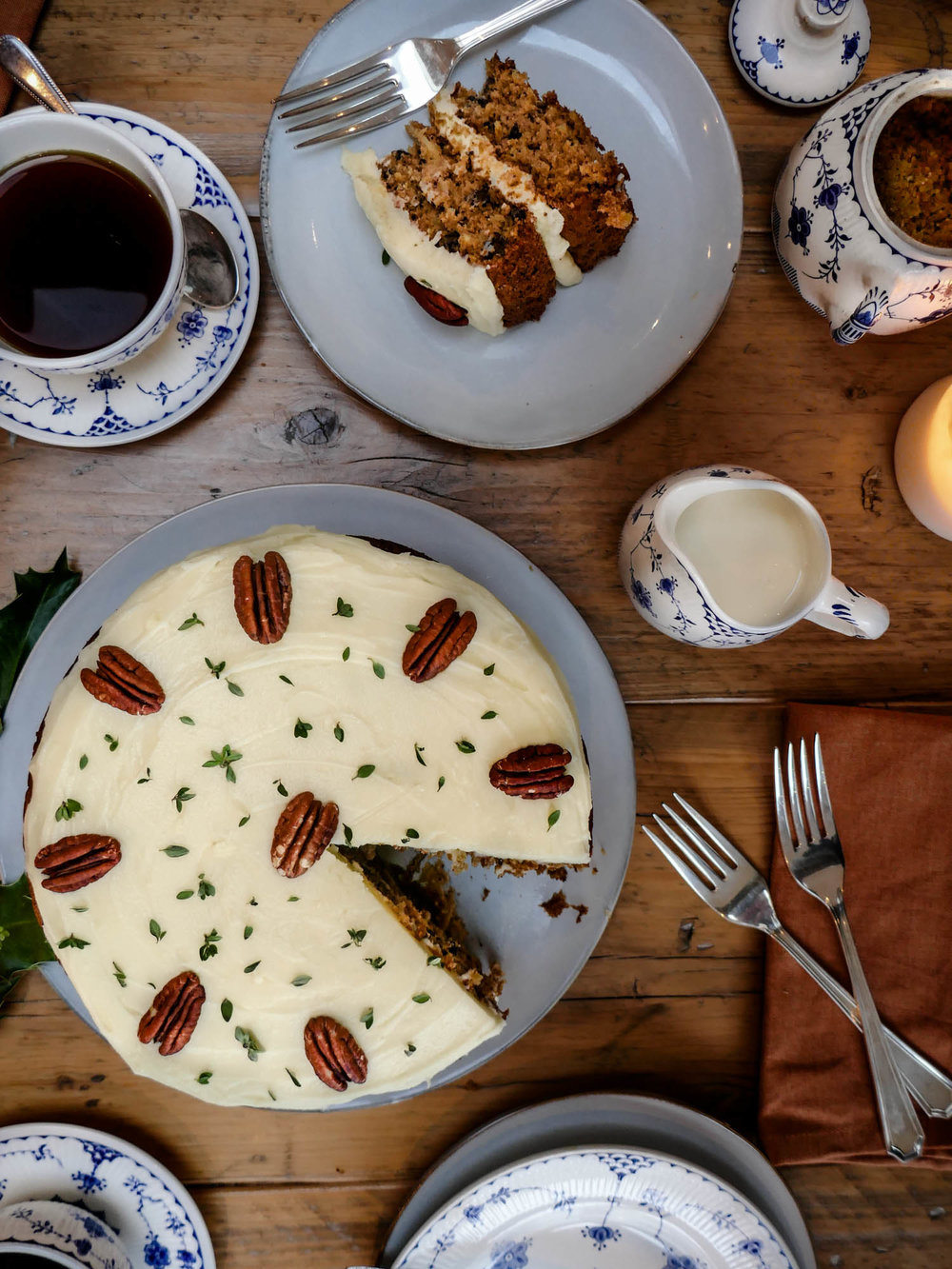 A perfect tea-time cake with a silky cream cheese frosting and the subtle fragrance of lemon thyme.