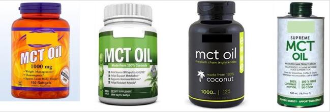 Obrázek 1 Komerčně vyráběné suplementy s obsahem MCT