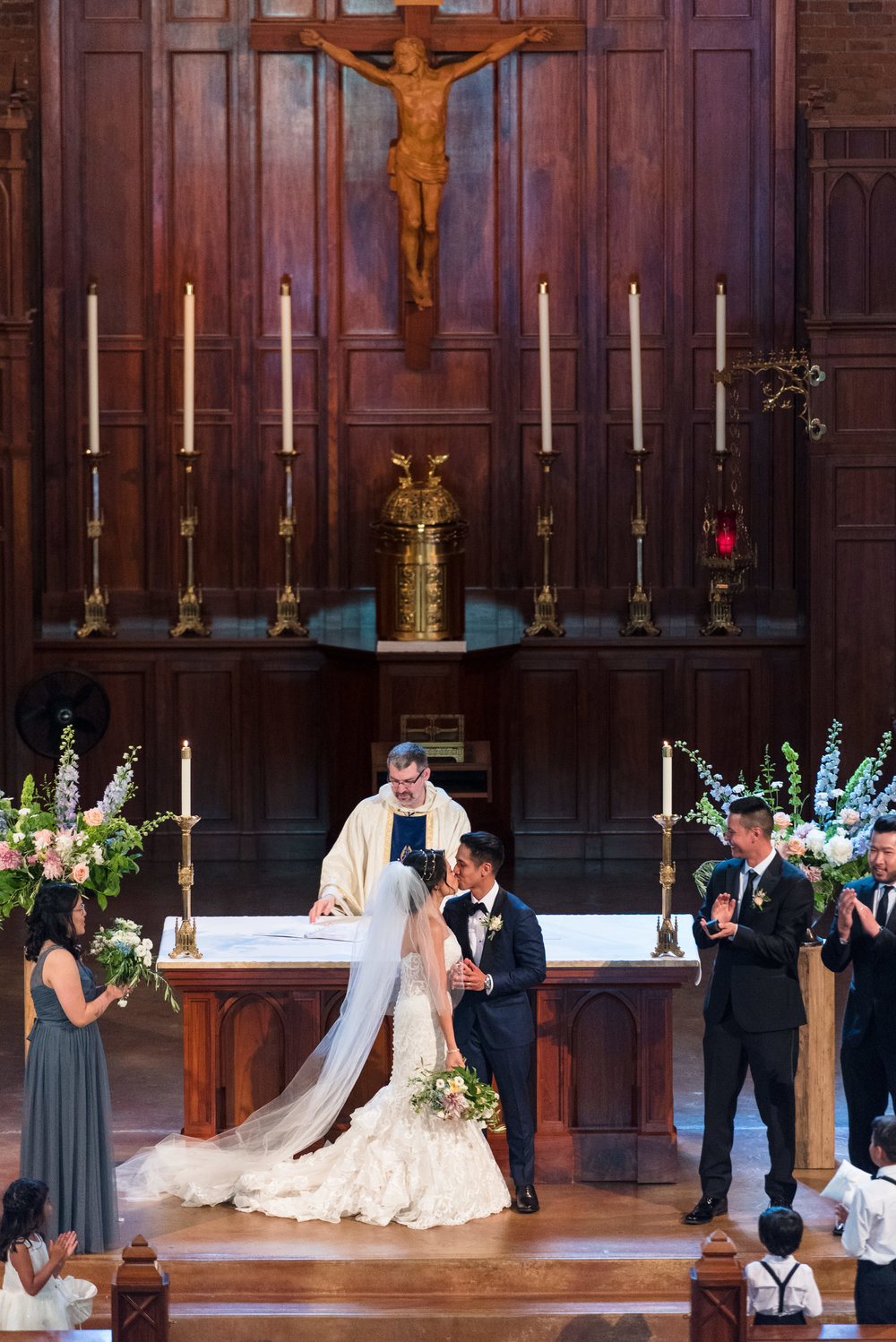 Kim and Allen Documentary Asian Wedding Ceremony at Blessed Sacrament Catholic Church in Seattle Washington