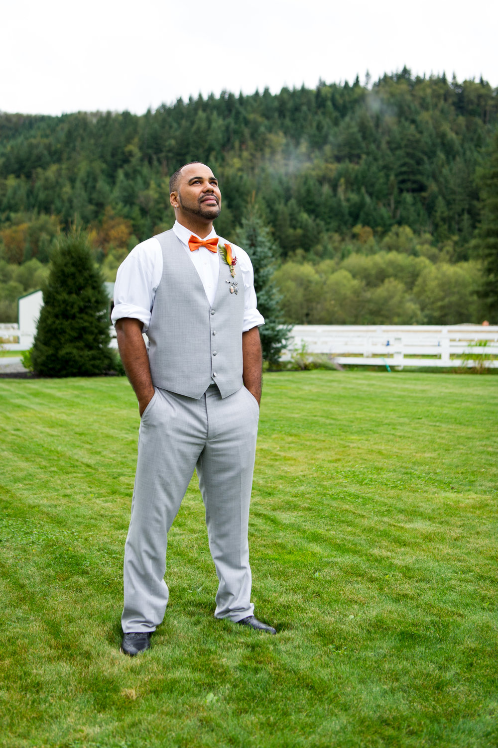 Marcus Pacific Northwest Overcast Nature Farm Outdoors Groom Bridal Portrait at Rein Fire Ranch in Ravensdale Washington