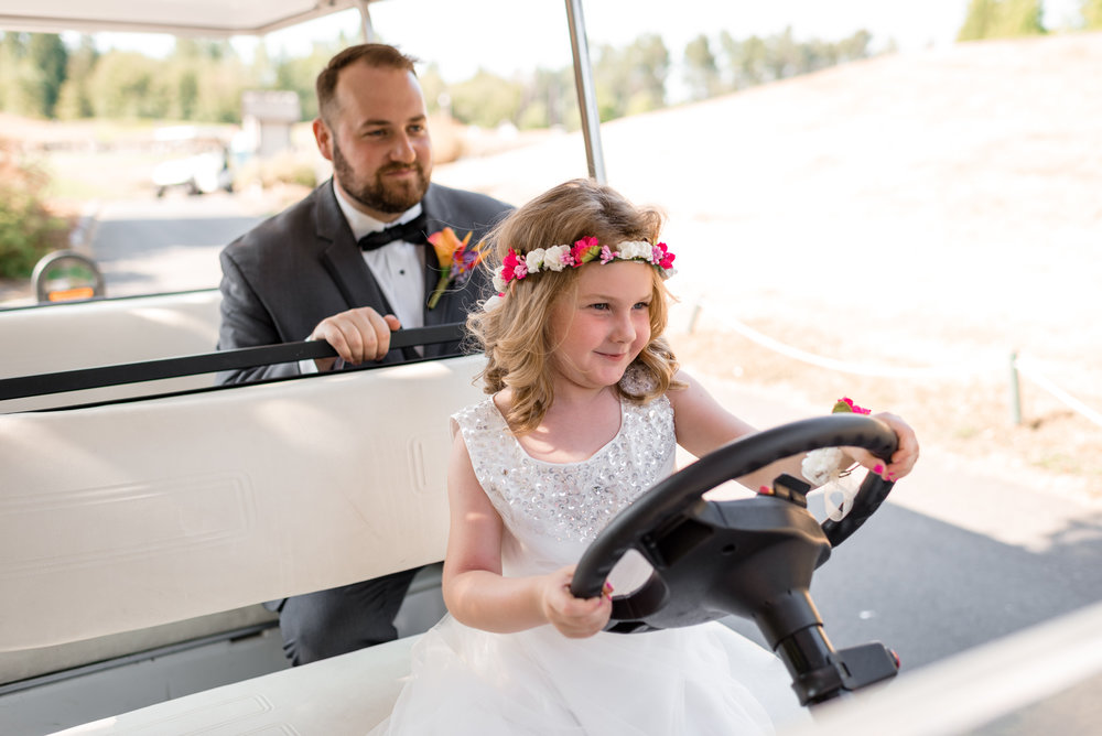 Daughter Drives Groom around in Golf Cart