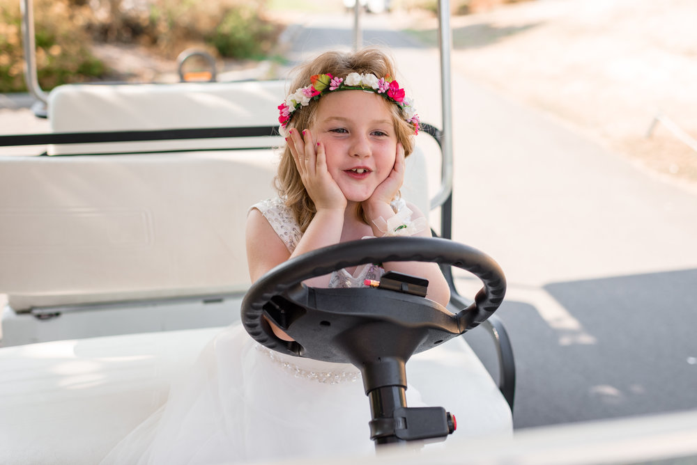 Flower Girls Drive around in Golf Cart at Echo Falls Golf Course