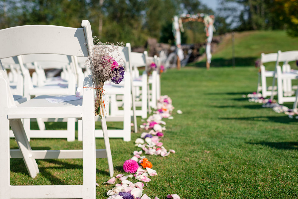 Sunny Outdoor Wedding Ceremony Details at Echo Falls Golf Course
