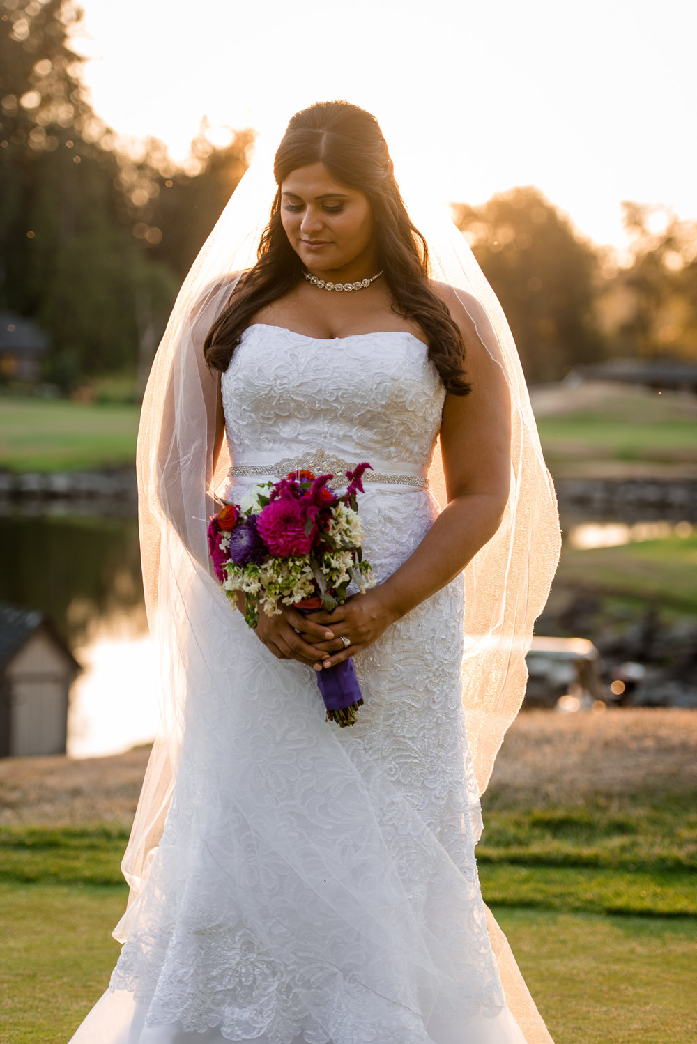 Happy Outdoor Fashion Sunset Bridal Portrait at Echo Falls Golf Course