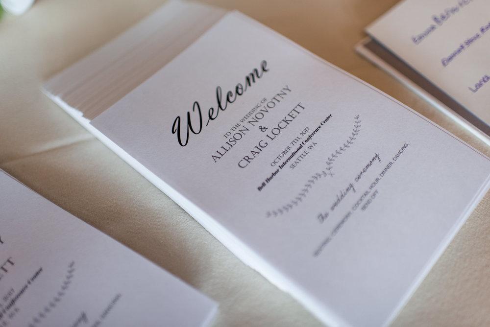 Wedding Program Details at Bell Harbor in Seattle