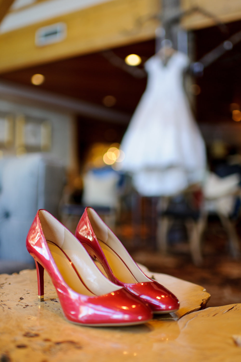 Bridal Dress and Shoes Details at Edgewater Hotel