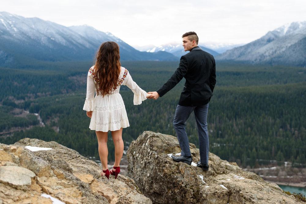 Romantic Editorial Pacific Northwest Outdoor Engagement Portrait