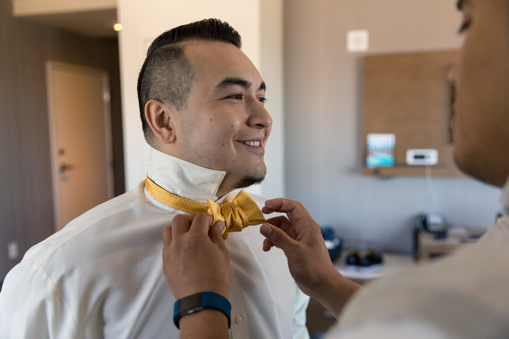 Groom Bowtie Getting Ready