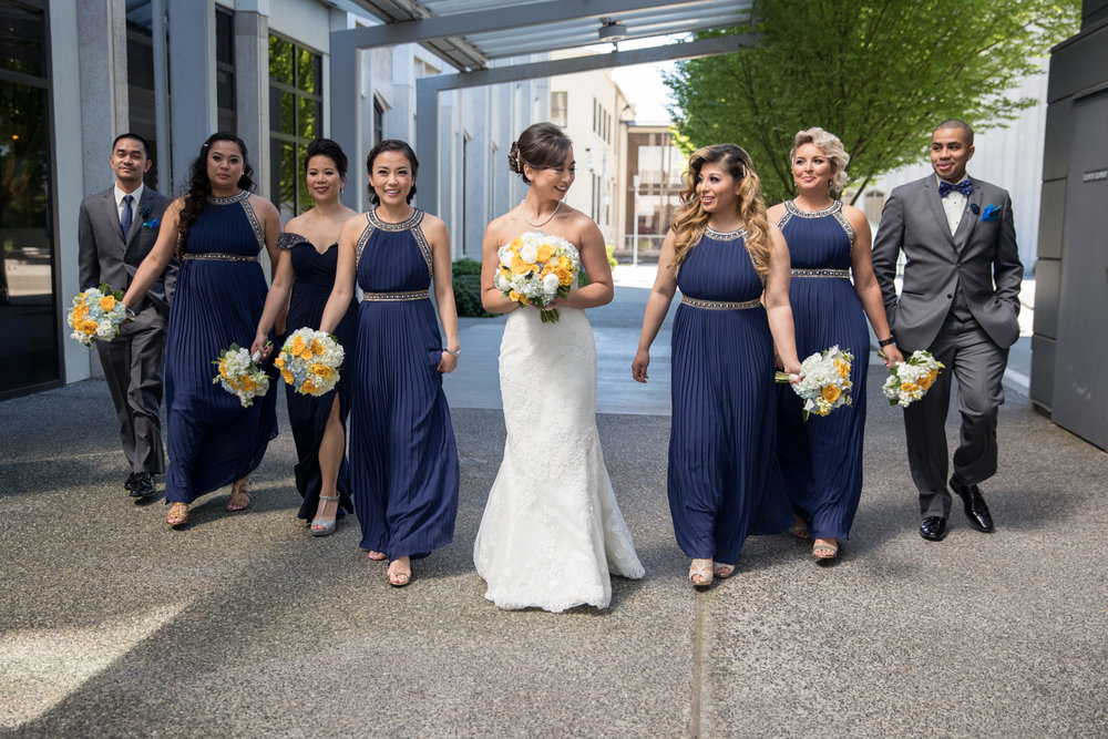 Bride and Bridesmaids Happy Wedding Party Portrait Walk