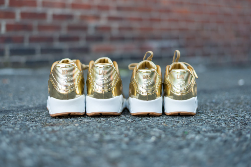 Custom Nike Gold Shoes Wedding Gift