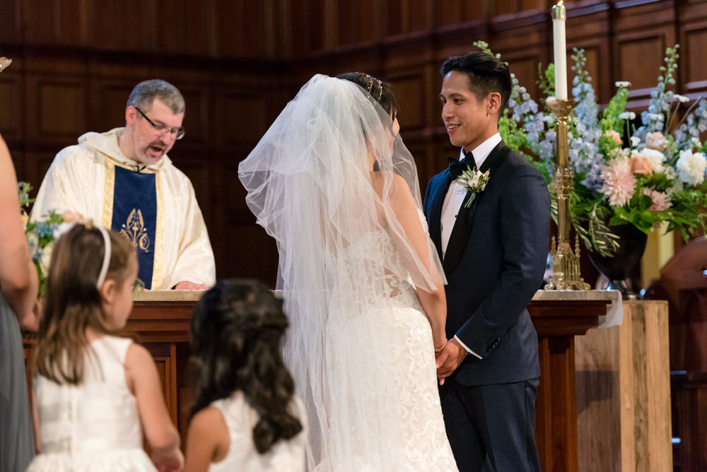 Asian Bride and Groom Happy Wedding Ceremony at Blessed Sacramen