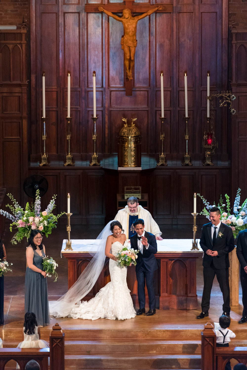 Asian Bride and Groom Happy Just Married at Blessed Sacrament Ca
