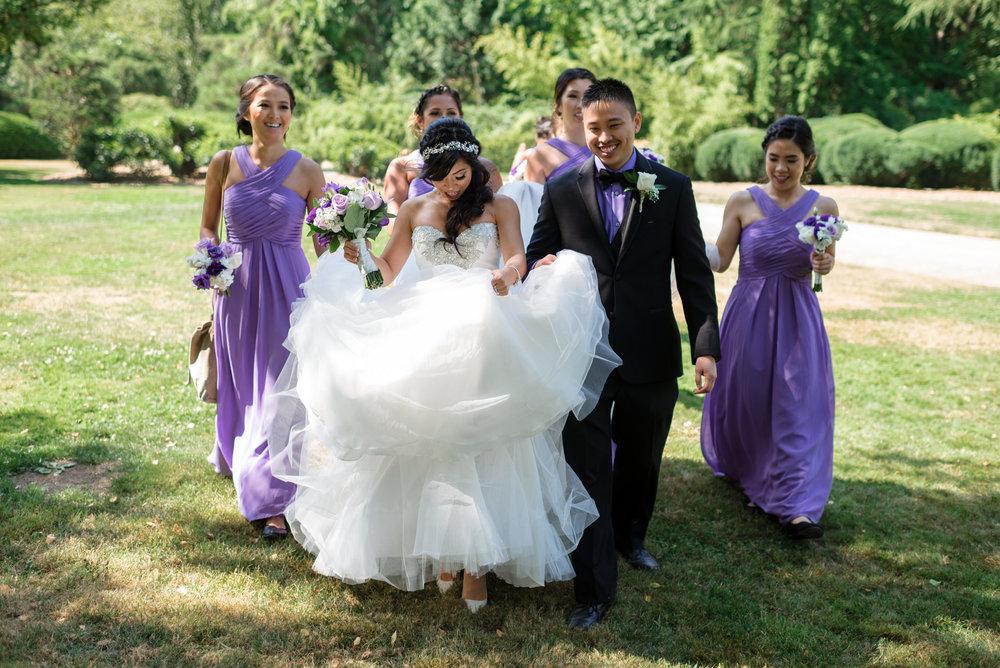 Asian Bride Groom and Bridesmaids Walk Around Kubota Garden