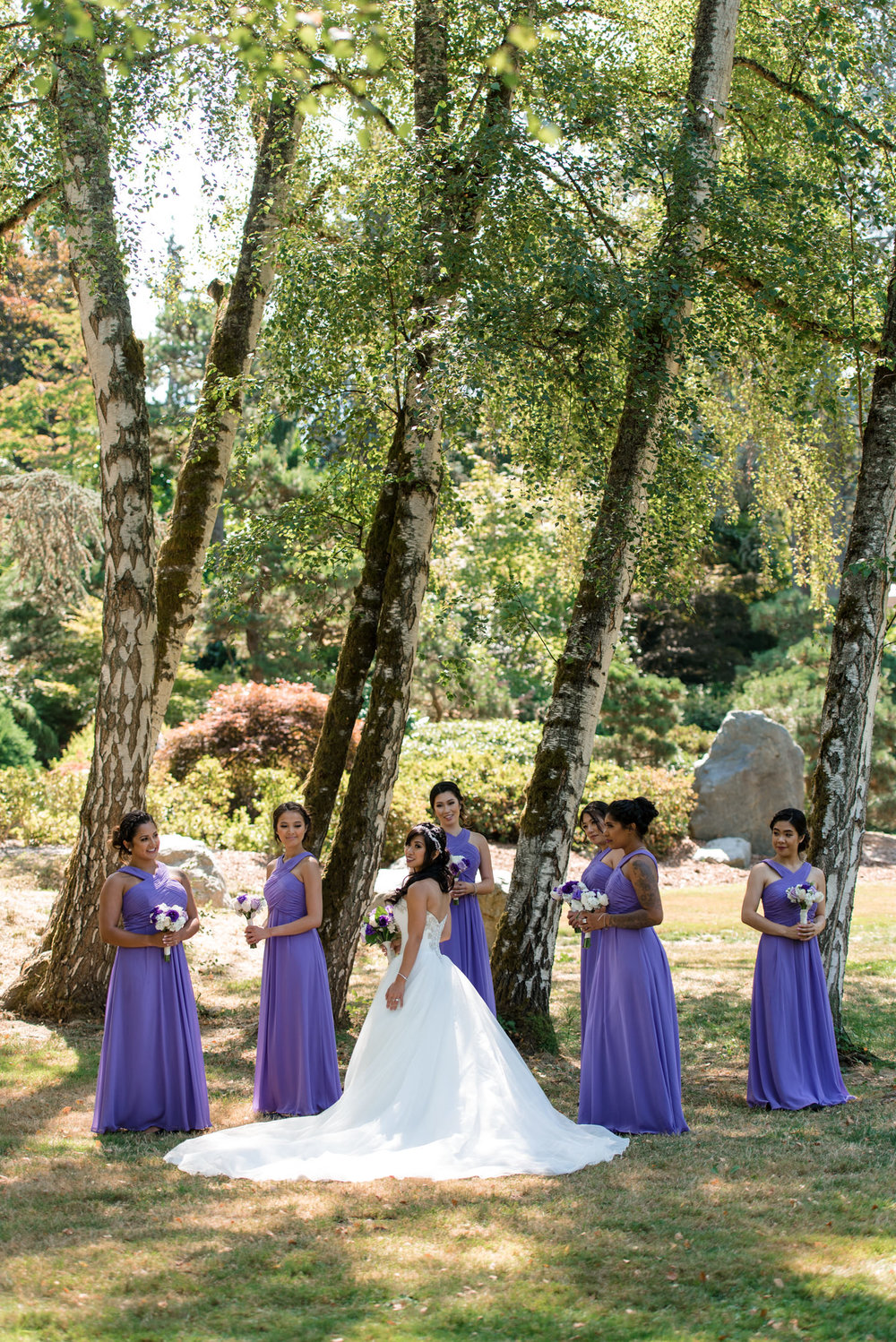 Asian Bride and Bridesmaids Outdoor Wedding Portrait at Kubota G
