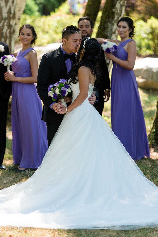 Asian Bride and Groom Romantic Outdoor Wedding Portrait
