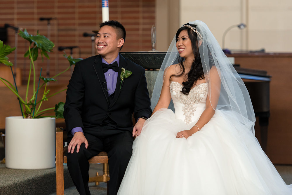Asian Happy Asian Bride and Groom Laugh During Wedding Ceremony