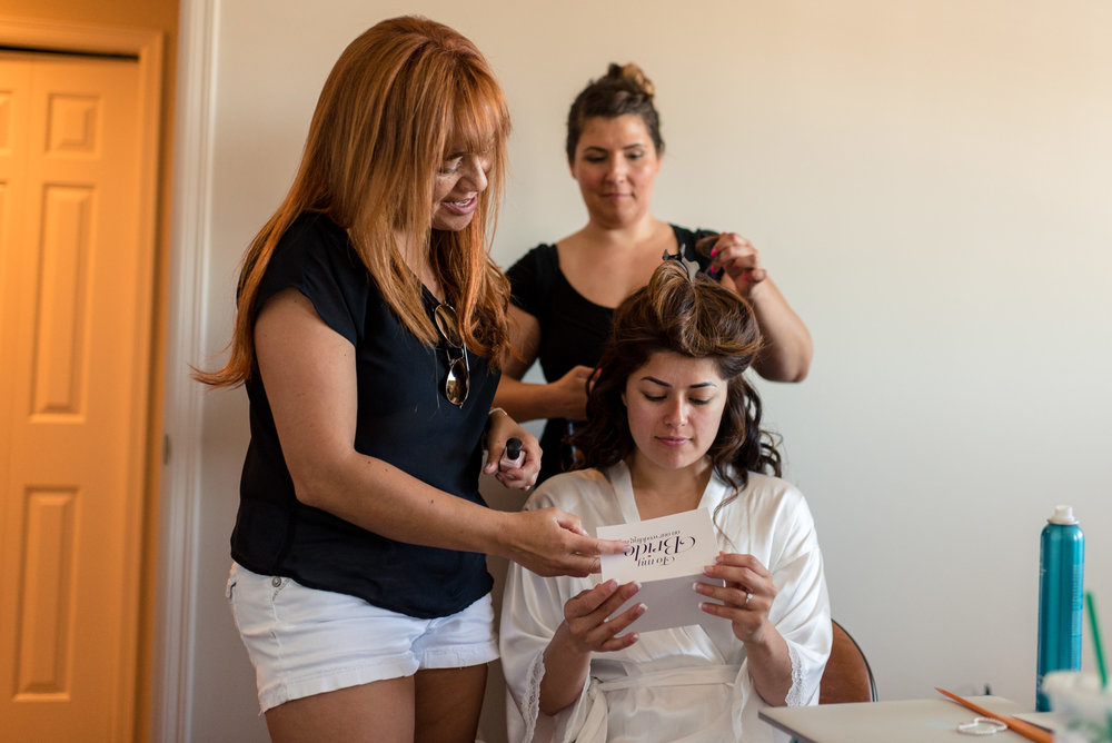 Salvadoran Bride Reading Card While Getting Ready