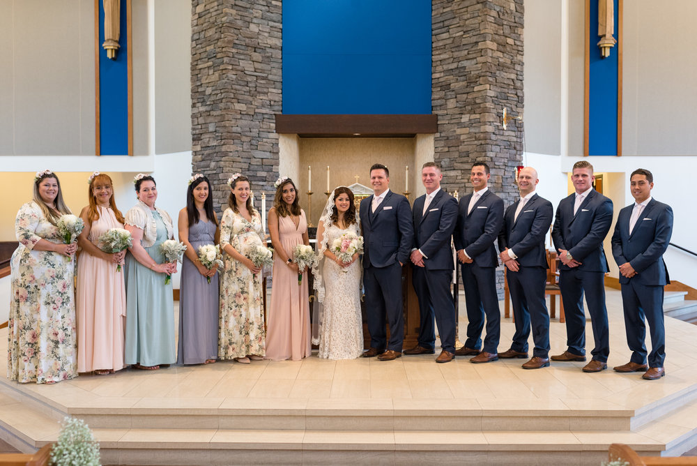 Editorial Wedding Party Portrait at Saint Teresa of Calcutta
