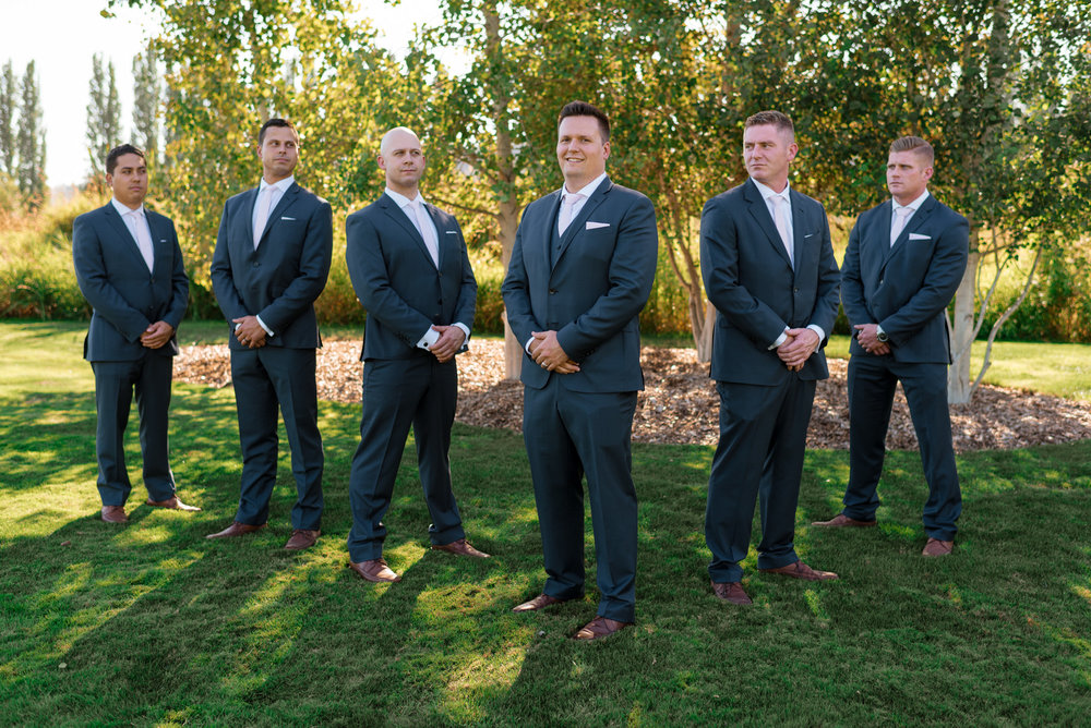 Groom and Groomsmen Editorial Wedding Party Portrait