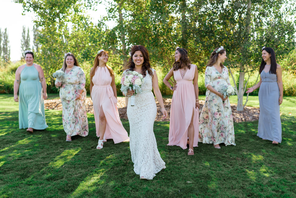Salvadoran Bride and Bridesmaids Editorial Wedding Party Portrait