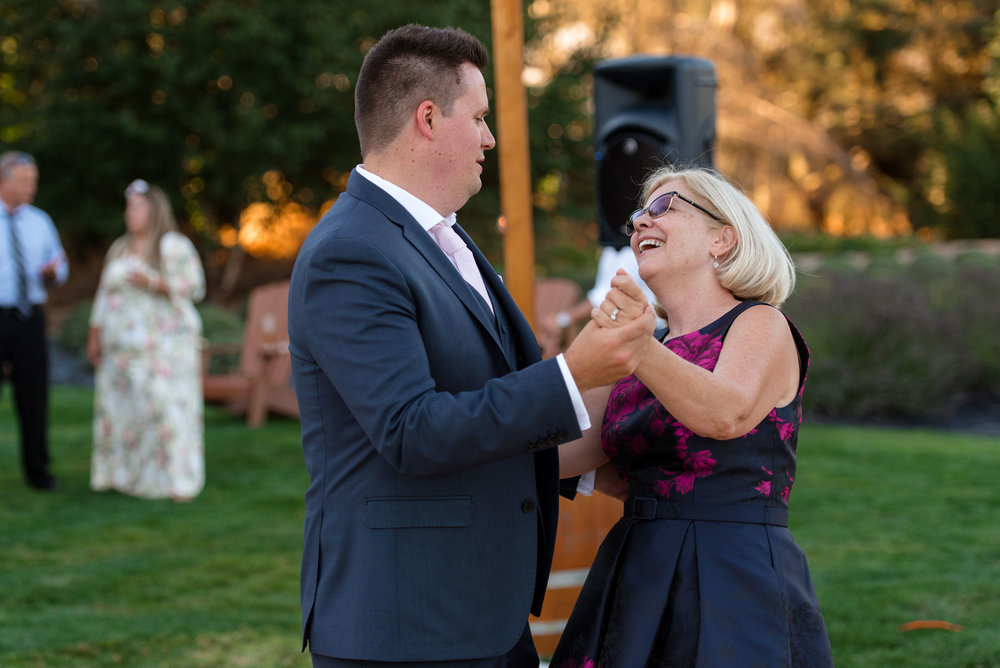 Groom and Mother Dance during Wedding Reception