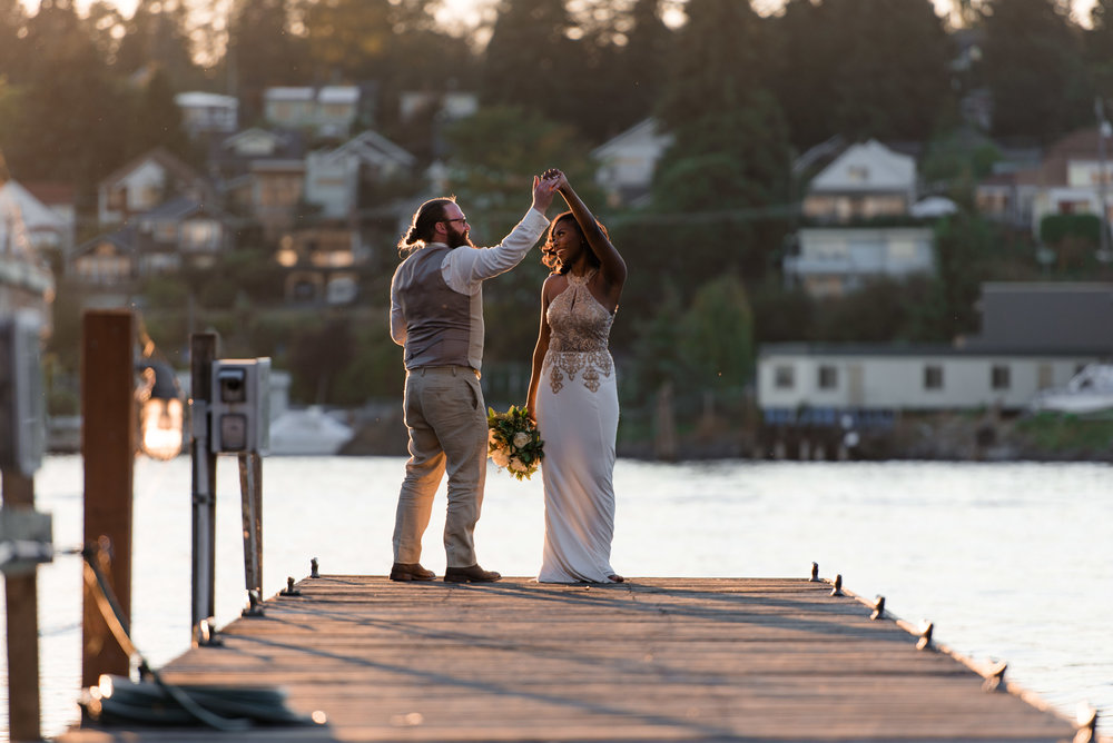 Bride and Groom Dance on Dock at Tyee Yacht Club