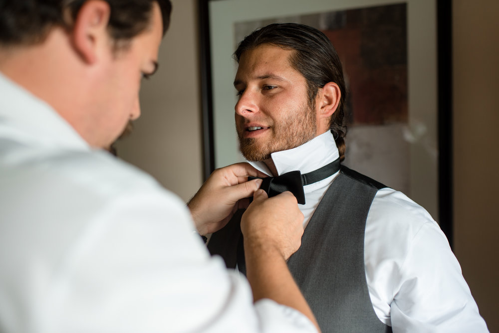 Groomsman Bowtie Getting Ready at Edgewater Hotel