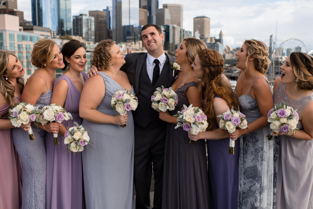 Groom and Bridesmaids Seattle Waterfront Skyline Happy Wedding P