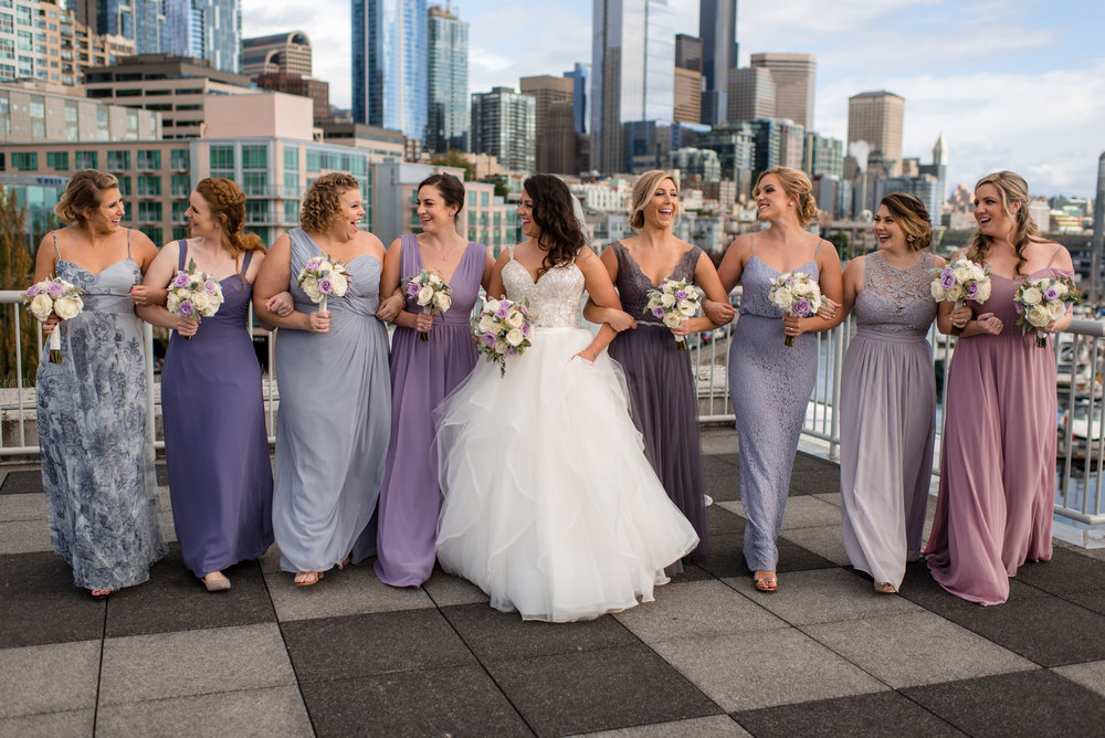 Bride and Bridesmaids Wedding Portrait Seattle Waterfront Skylin