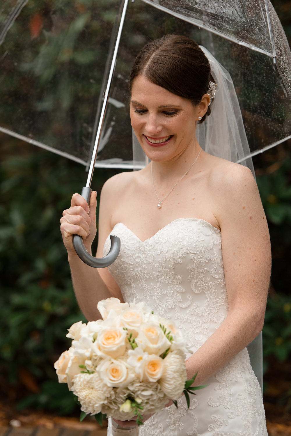 Rainy Bridal Portrait at University of Washington