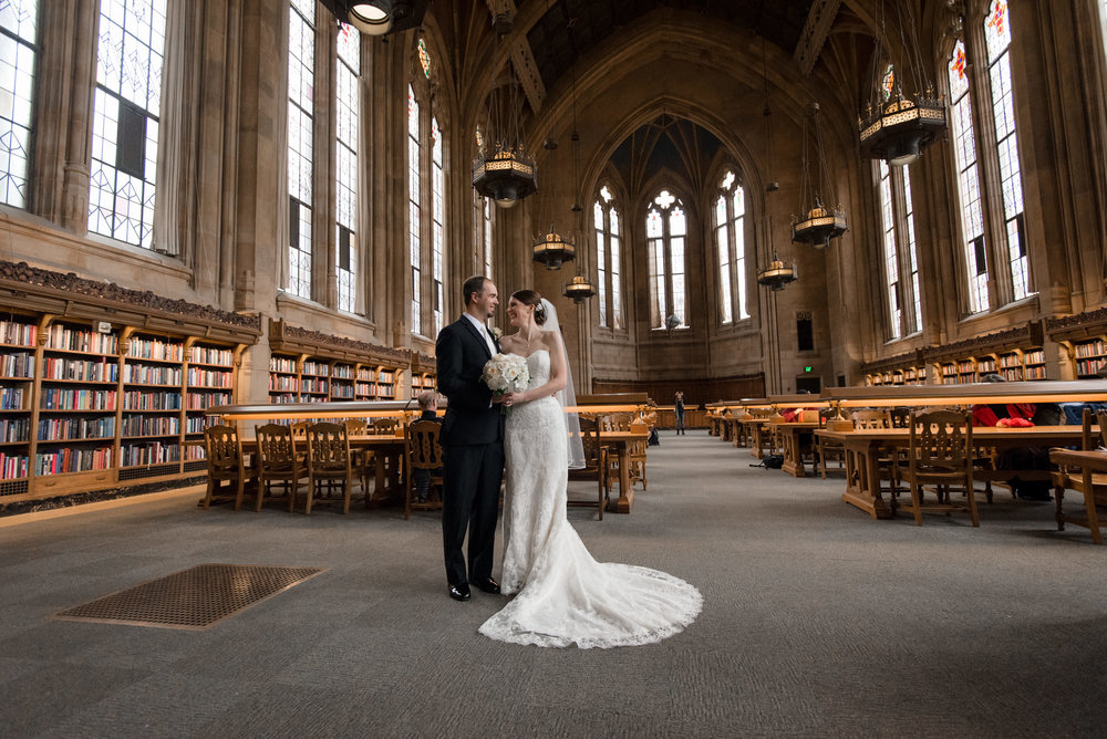 Bride and Groom Inside Suzzallo Library