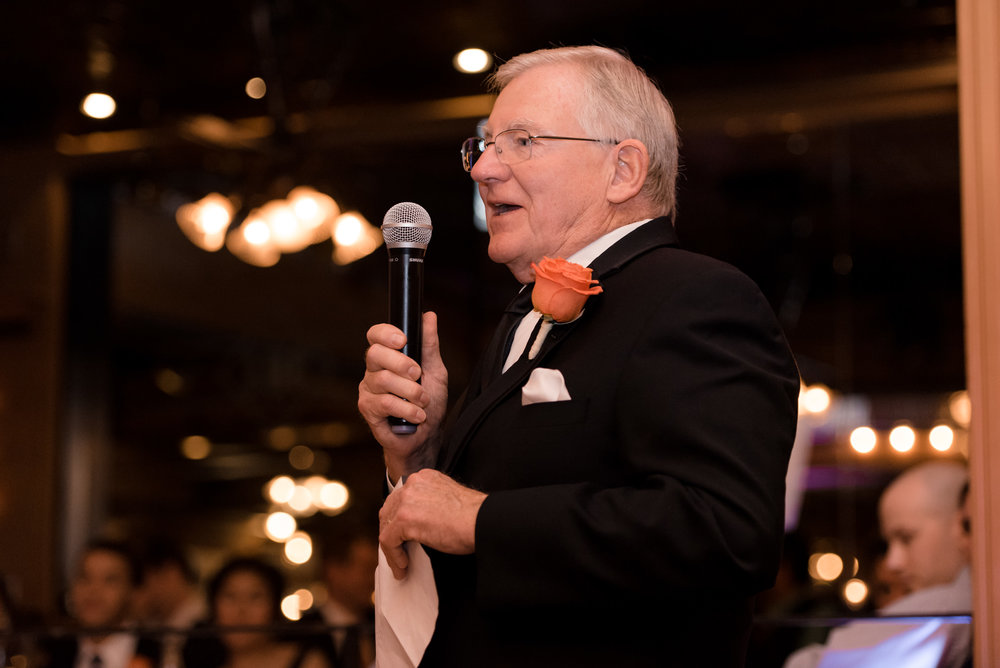 Father Gives Wedding Toast at Lake Union Cafe