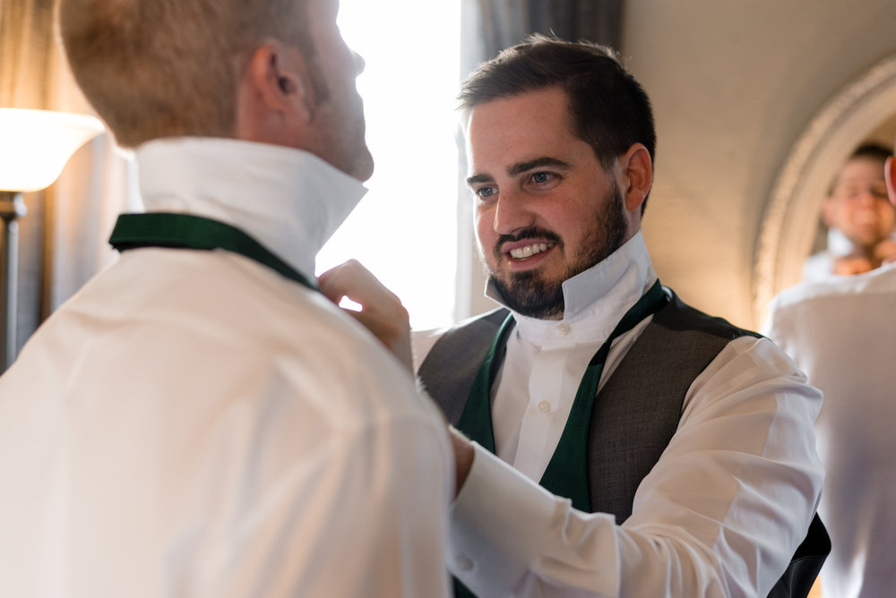 Groomsmen Help with Bowtie Getting Ready