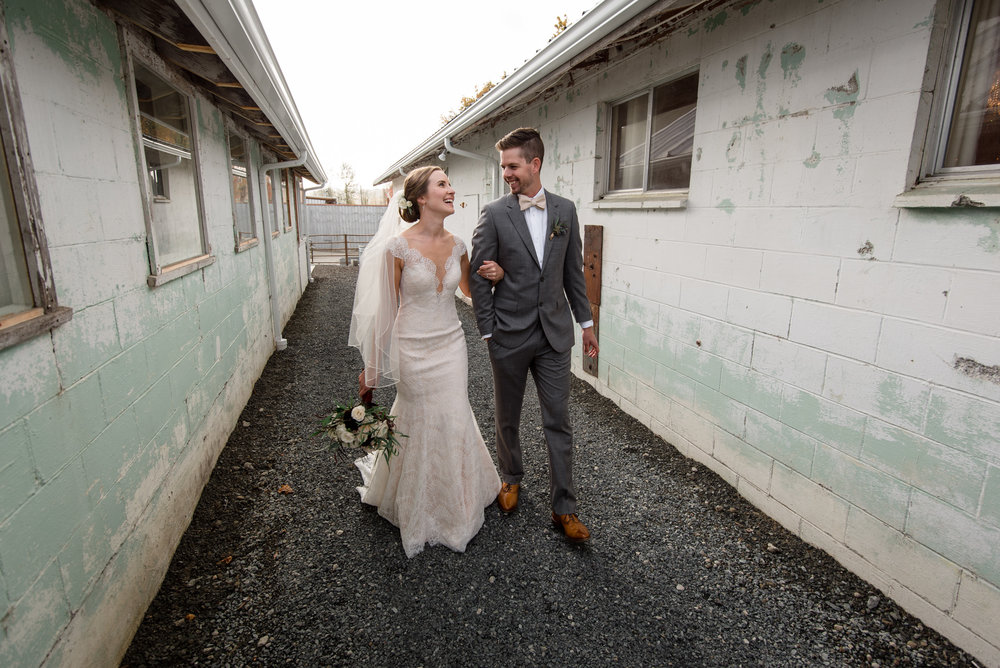 Bride and Groom Happy Wedding Portrait Walk