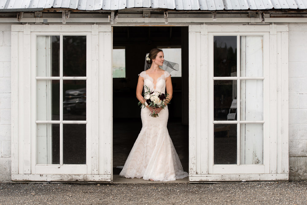 Editorial Bridal Portrait at Dairyland in Snohomish