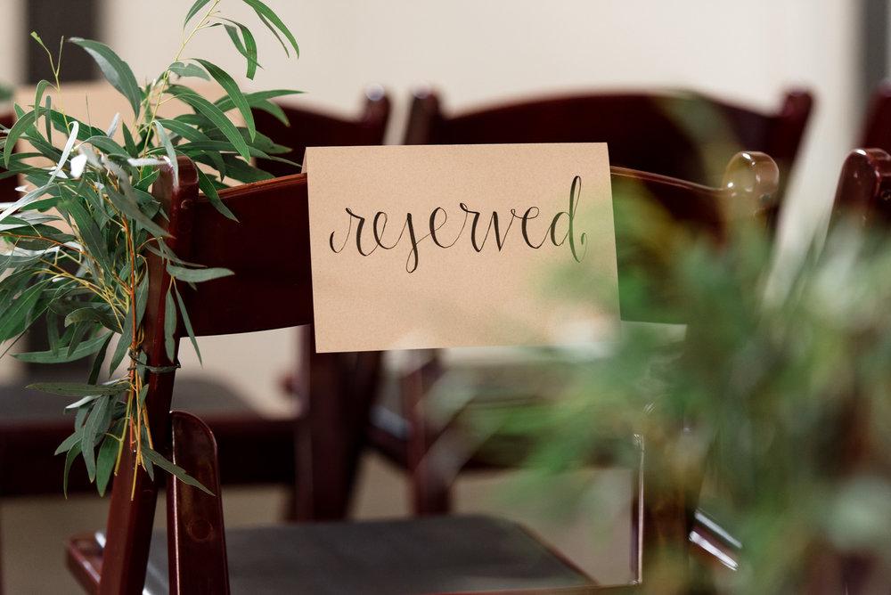 Reserved Wedding Details Sign at Dairyland