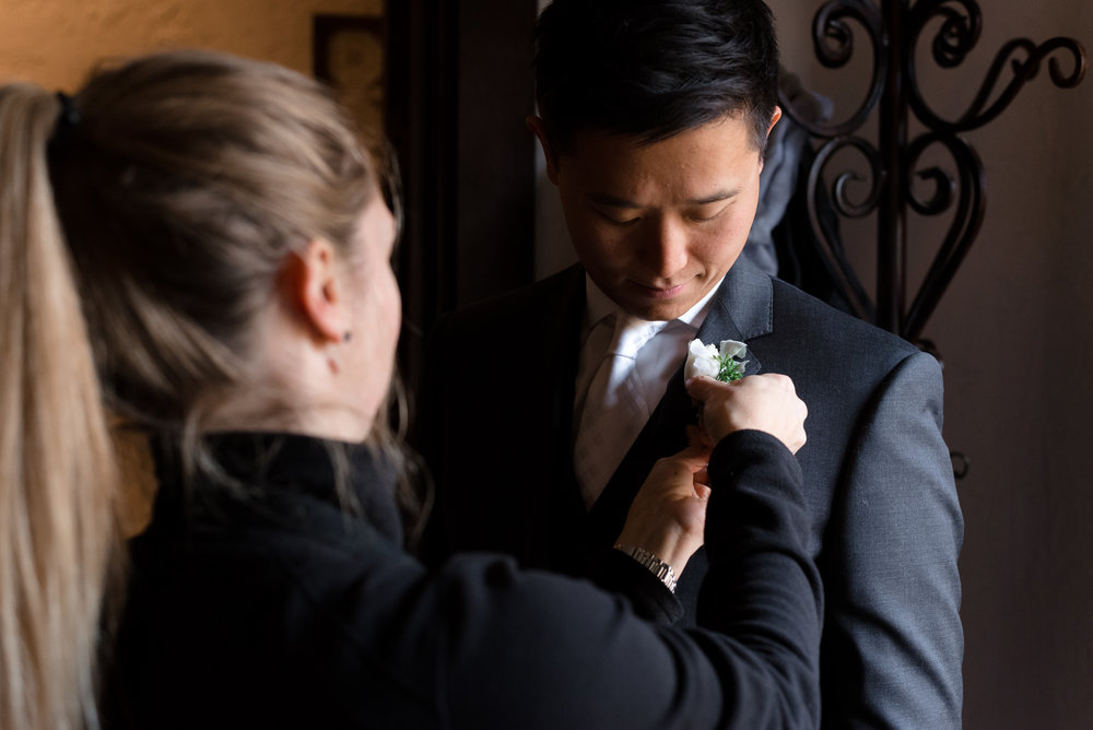 Asian Groom Boutonniere Getting Ready