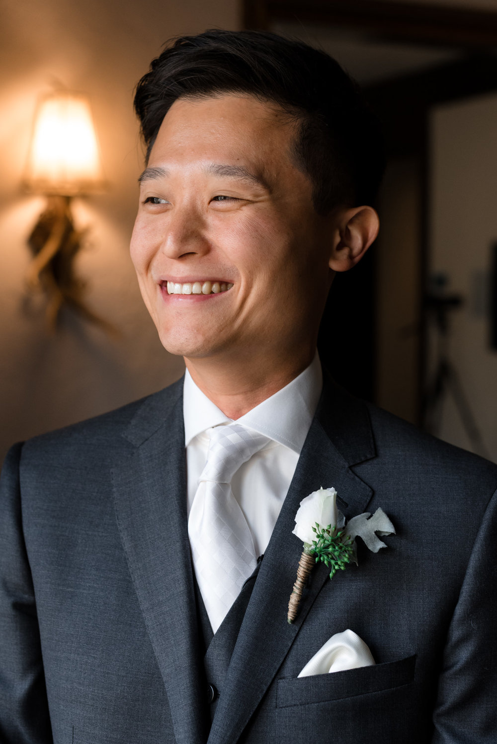 Asian Groom Happy Smiling Wedding Portrait