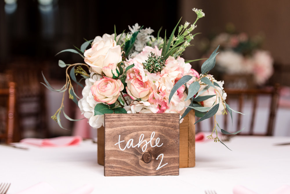 Wedding Dinner Table Centerpiece Floral Details