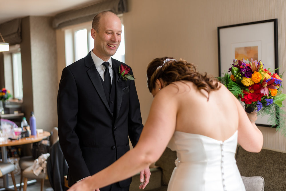 Bride and Groom First Look at Watertown Hotel