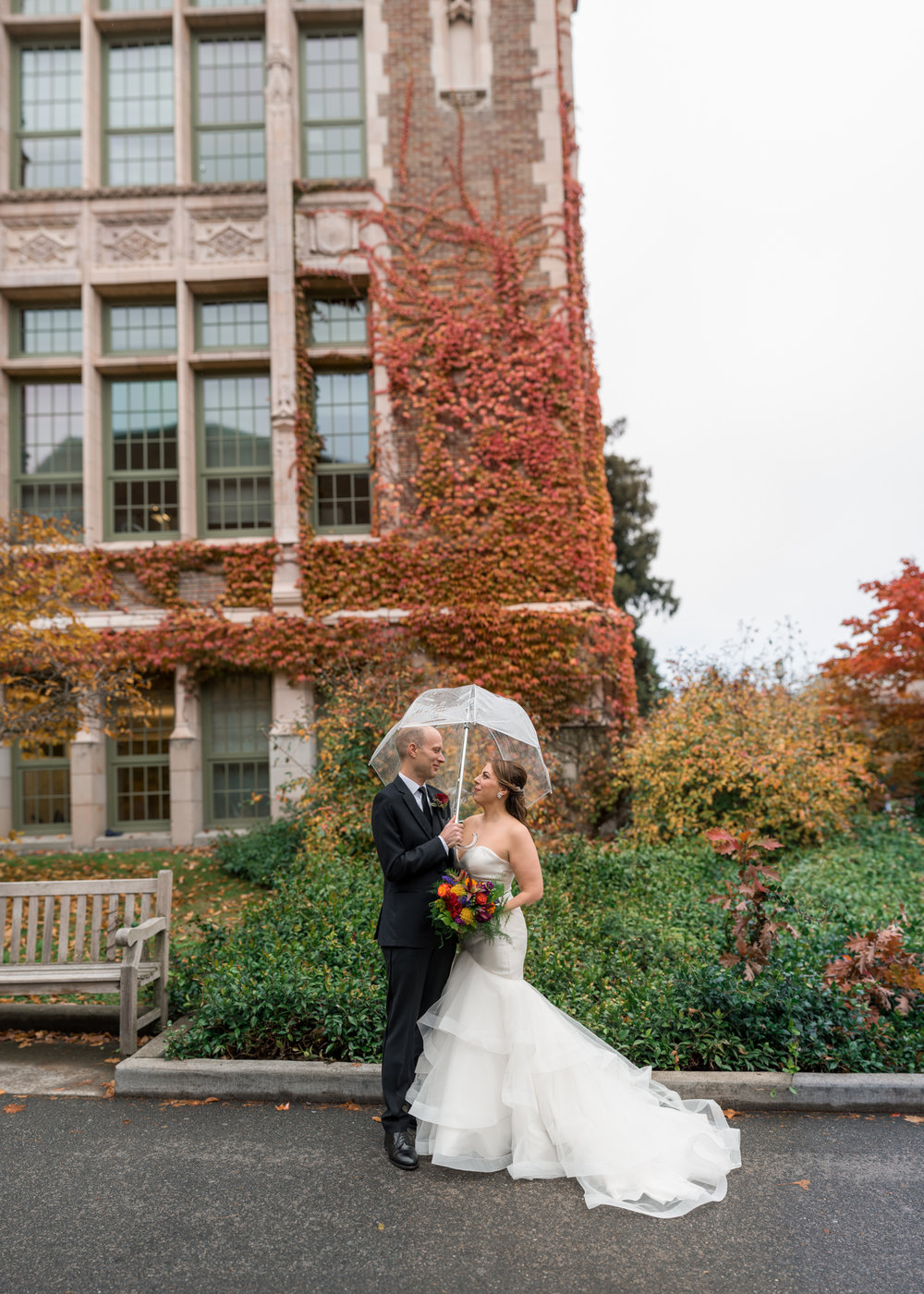 Bride and Groom Portrait at University of Washington