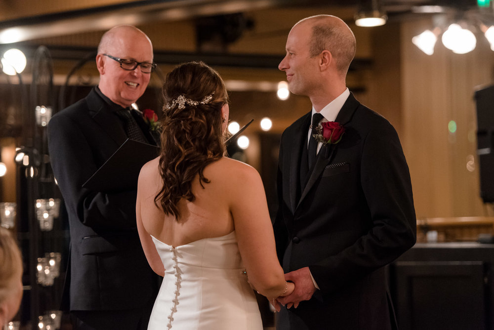 Bride, Groom, and Officiant Wedding Ceremony