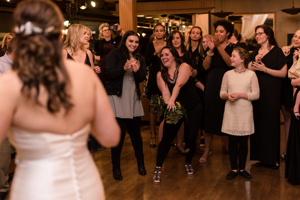 Bride Bouquet Toss at Lake Union Cafe
