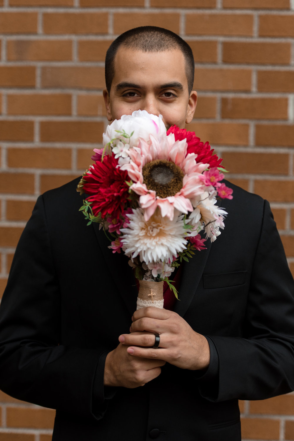 Mexican Groom Flowers Portrait at University of Washington