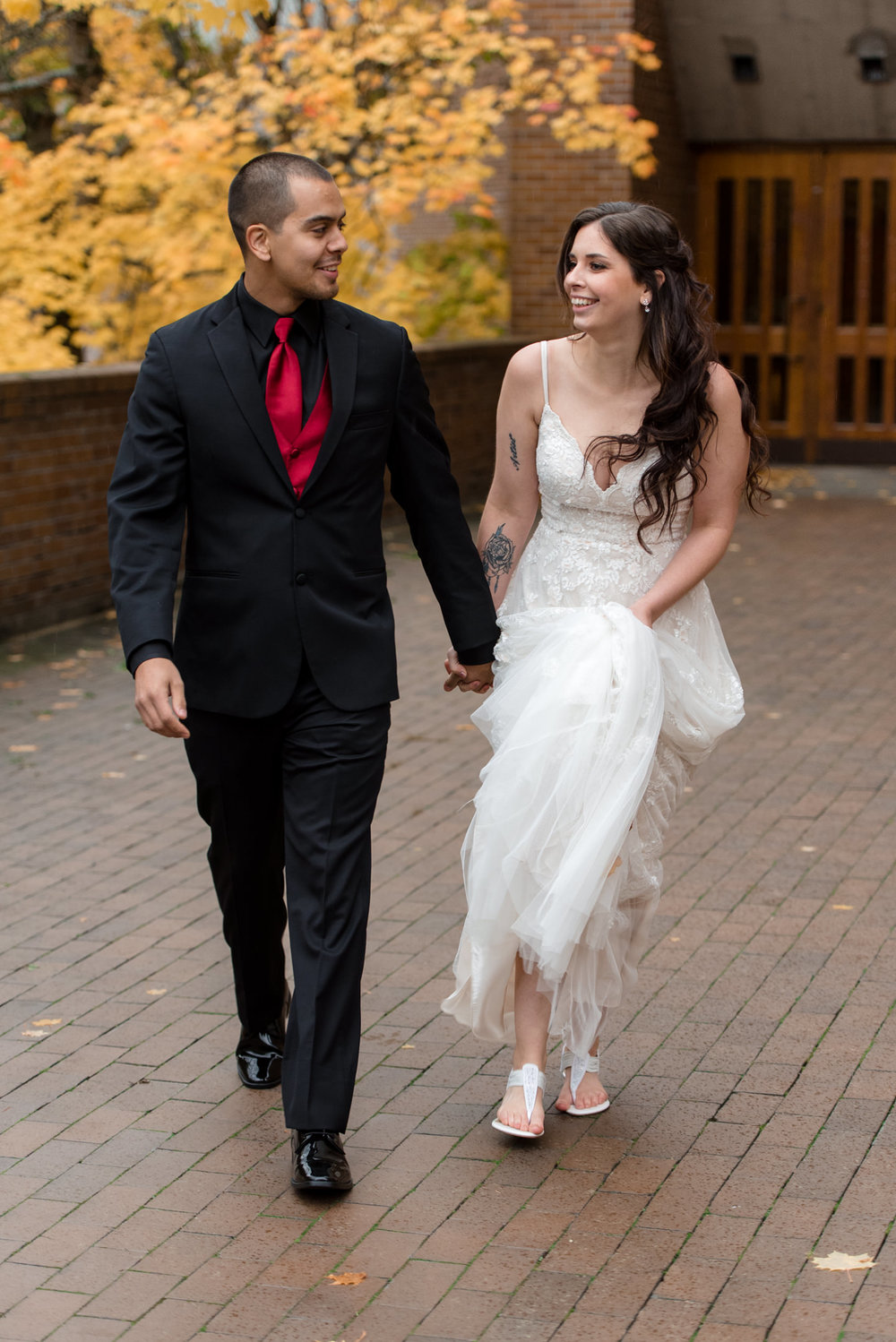 Bride and Mexican Groom Wedding Walk at University of Washington