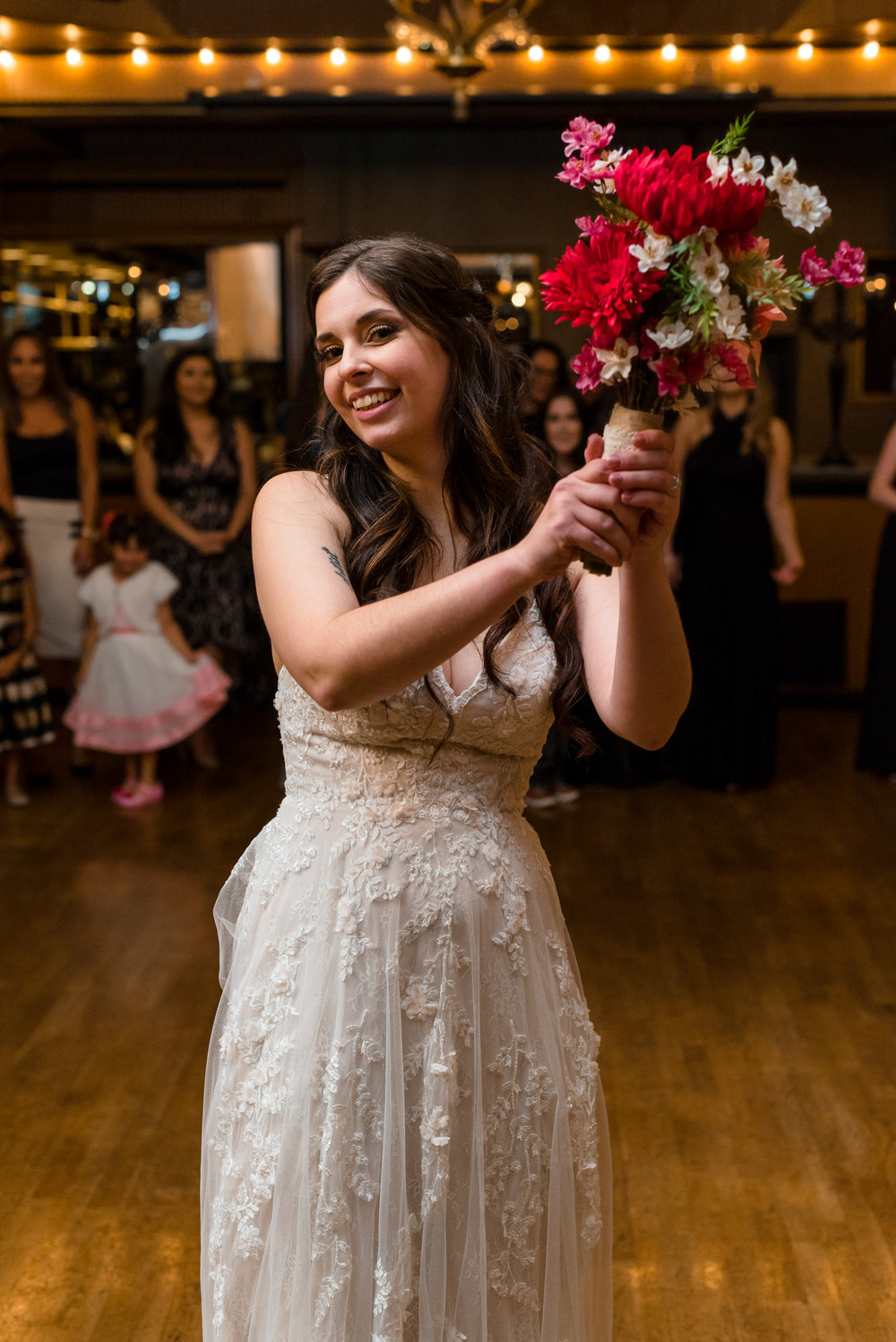 Bride's Bouquet Toss at Lake Union Cafe