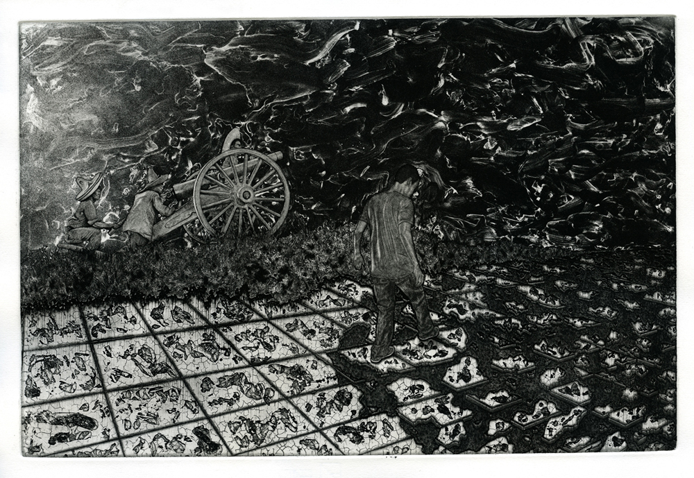 Marco Hernandez.  El Viaje,  2016. Etching.  Sheet: 16 x 22 inches. Printed and published by the artist. Edition: 10