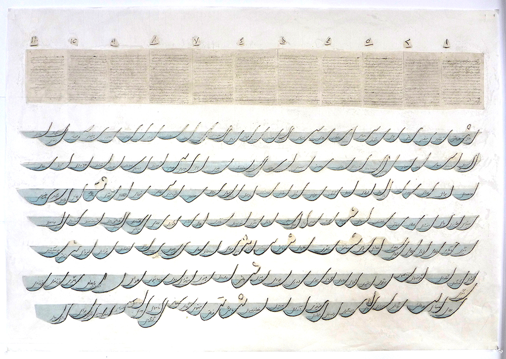 Ye Harvest From the Eleven-Page Letter,  2016. Transfer print on Japanese paper, Rayon Lens, beeswax. Sheet: 25 x 37 inches Printed and published by the artist. Edition: Unique. (c) Golnar Adili