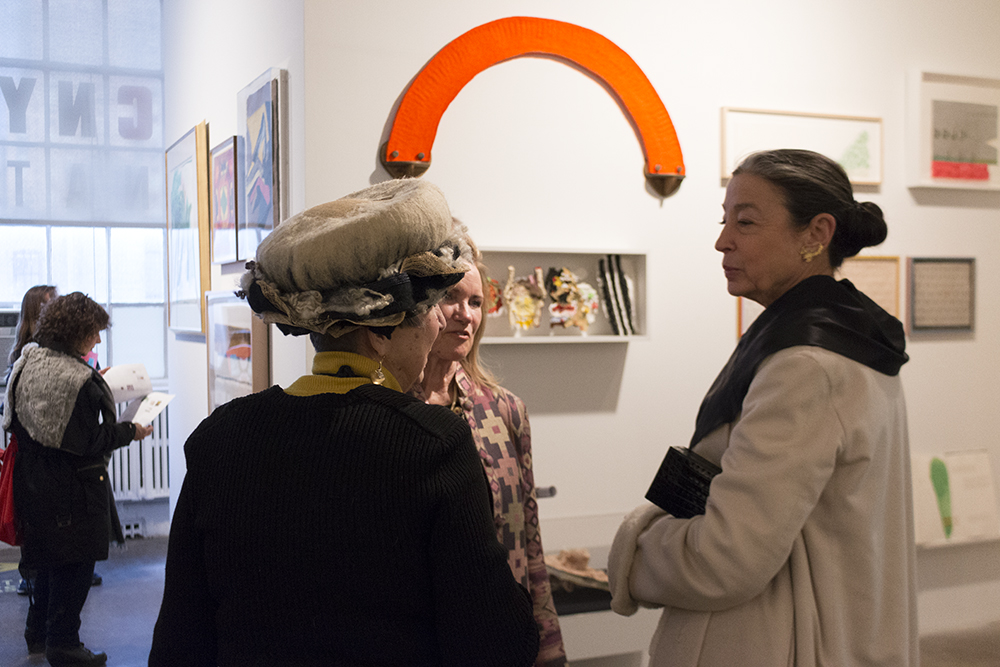 Curator Susan Gosin (center) with printer and publisher Judith Solodkin of Solo Impression (left) and artist Michele Oka Doner (right)